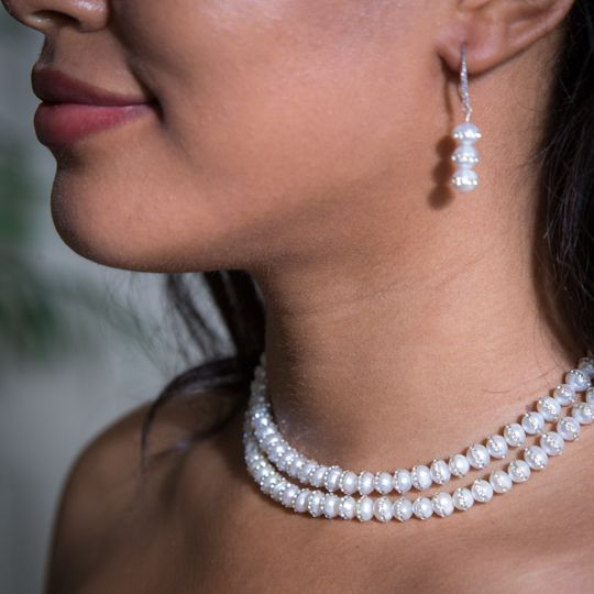 Double string of freshwater pearls