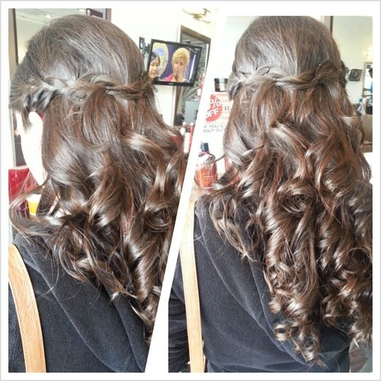 Perfect hairstyle for a bridesmaid! Beautiful braid to separate a half hair do and nice full curls.