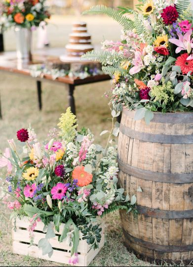 Floral arrangements on rustic decor