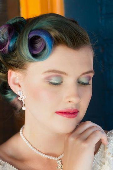 Blue and green eyeshadow