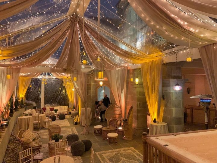 clear tent with hanging lanterns and swagging 51 31450 158508335358933