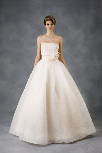 """""""At First Blush"""" diamond white embossed organza ball gown with blush lining."""