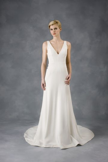 """""""White Opal"""" diamond white sheath gown made with stretch silk and V neck."""