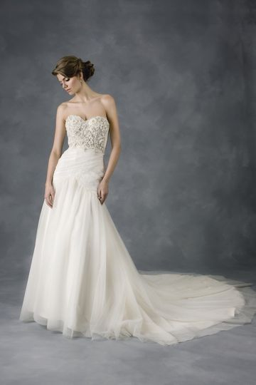 """Shimmering Rose"" custom beaded sweetheart bodice gown with draped soft netting skirt."