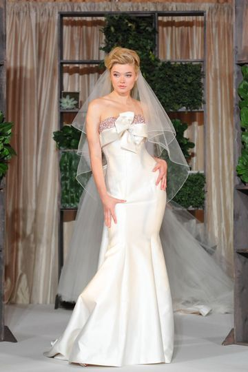 """""""Cosmopolitan in Ivory"""" strapless silk wool bridal gown in ivory with crystalized bodice."""