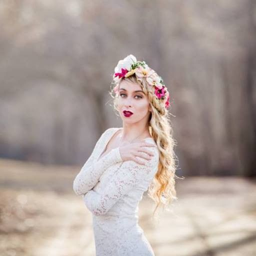 Bride wearing a flower crown