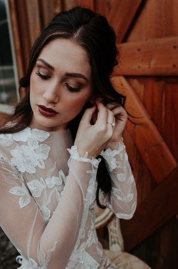 Beautiful bride wearing her earring