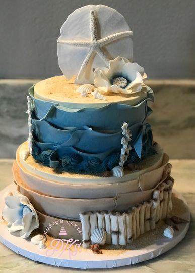 Beach themed 2 tier cake