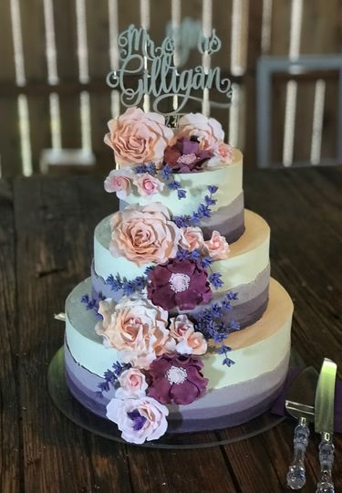 Handmade sugar flowers and lavender sprigs