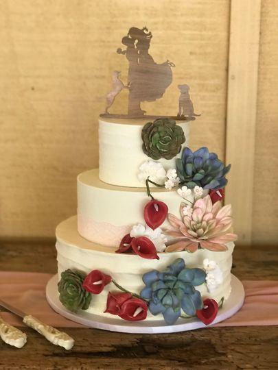 Succulents on wedding cake