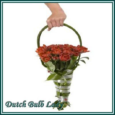 Original bouquet made from red tulips and leaves. I can make this bouquet with any flower!