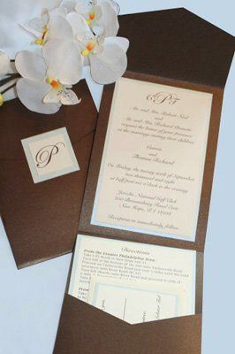 Custom invitation in pale blue and chocolate brown.