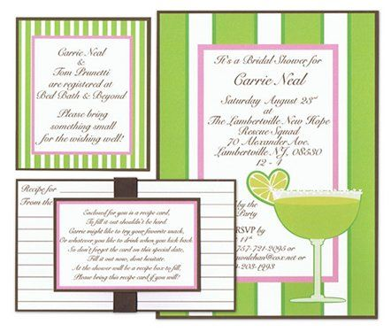 Margarita bridal shower invitation in pink, green and brown.