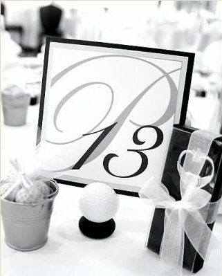 Custom golf ball table numbers.