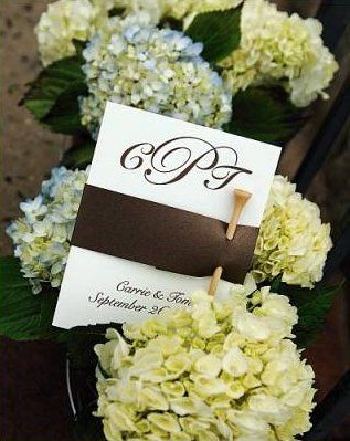 Custom golf tee wedding program with chocolate brown band