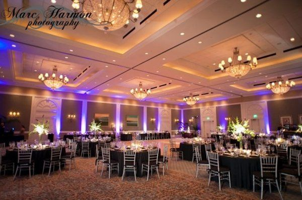 A gorgeous ballroom set in Black, Platinum and Eggplant.  Photo credit:  Marc Harmon Photography
