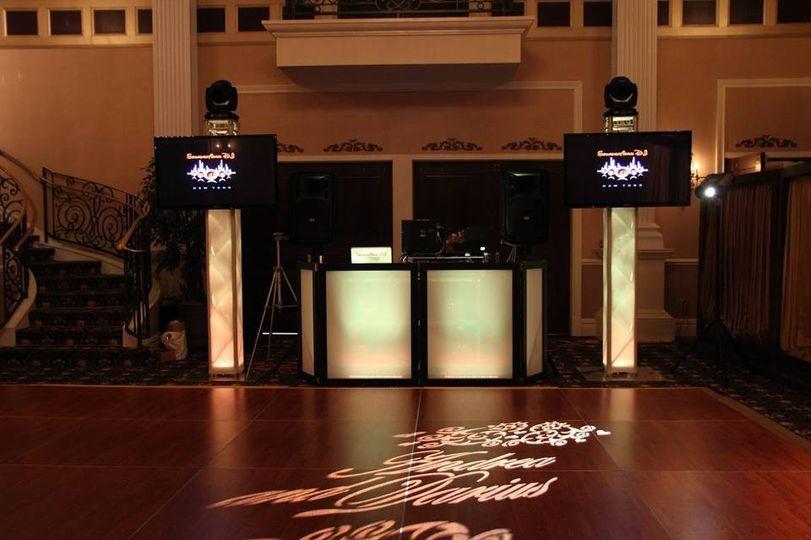 DJ booth and monogram lights