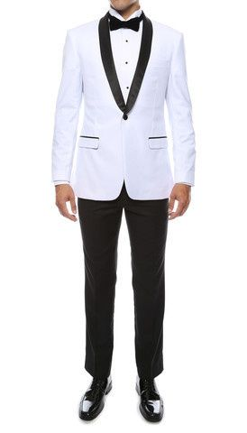 White with Black Shawl available at Bravo Suit and Tux