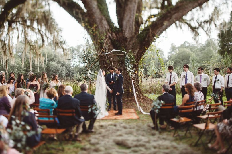 Wedding ceremony at the famous Oak tree