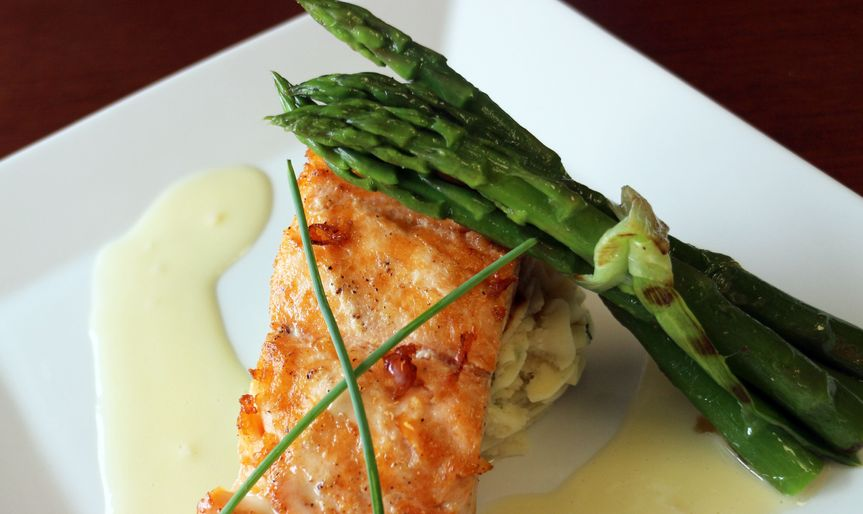 Pan seared salmon filet with lemon Buerre Blanc sauce, dill puréed potato and grilled asparagus...
