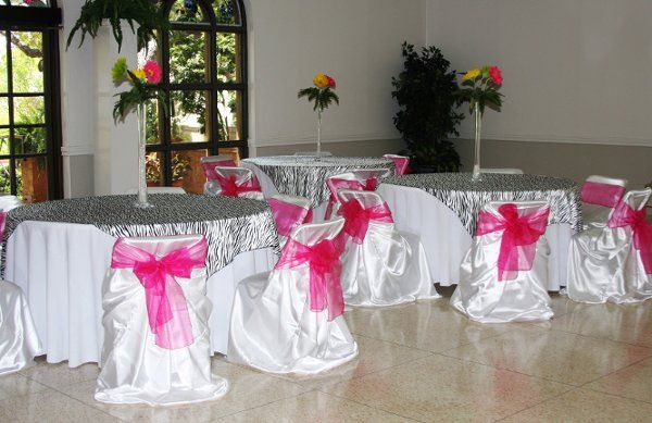 The Zebra print with hot pink sashes and a centerpiece of large size gerber daisies.