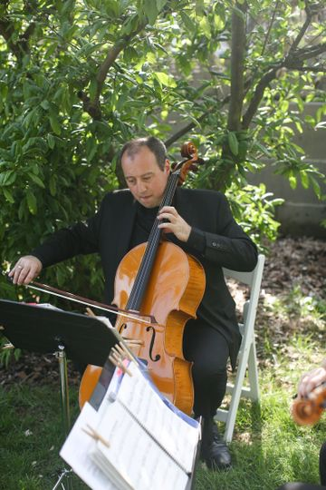 Cellist playing music