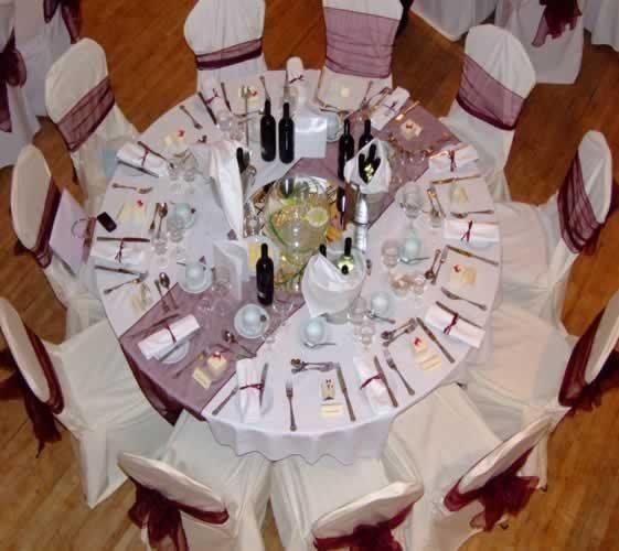 Ivory Chair Covers With Burgundy Sashes