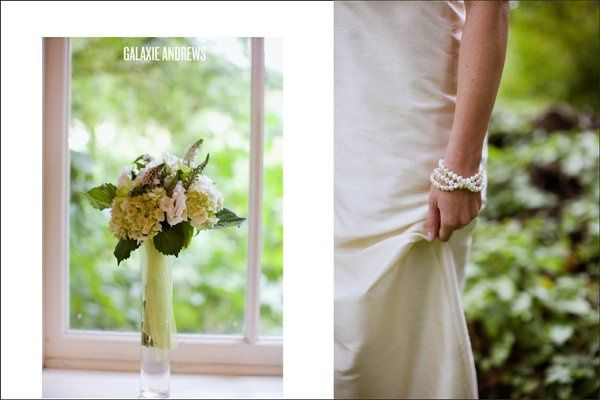 green hydrangeas, white lisianthus and loosestrife flowers,combined with a stunning bride possessing...