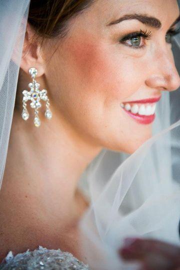Bridal makeup and earrings