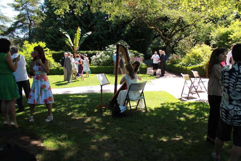Harp providing an elegant ambiance at an outdoor wedding!