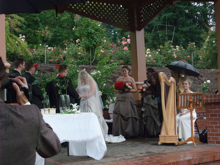 Even a wet wedding can be enhanced by harp - so long as it is under cover!