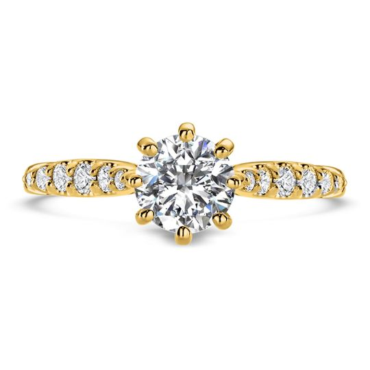 Ritani	19840		Solitaire Diamond Gallery Engagement Ring in 18kt Yellow Gold (0.10 CTW) for a...