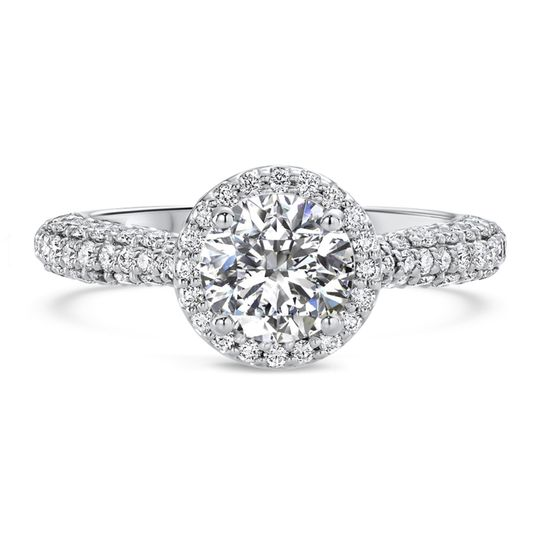 Ritani	19810		Three Row Pave Diamond Halo Engagement Ring in Palladium (0.60 CTW) for a Round...
