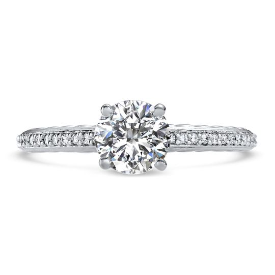 Ritani	19801		Engraved Diamond Engagement Ring in Platinum (0.12 CTW) for a Round Center Stone