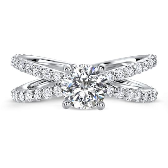 Ritani	19796		Open Band Diamond Engagement Ring in Platinum (1.07 CTW) for a Round Center Stone