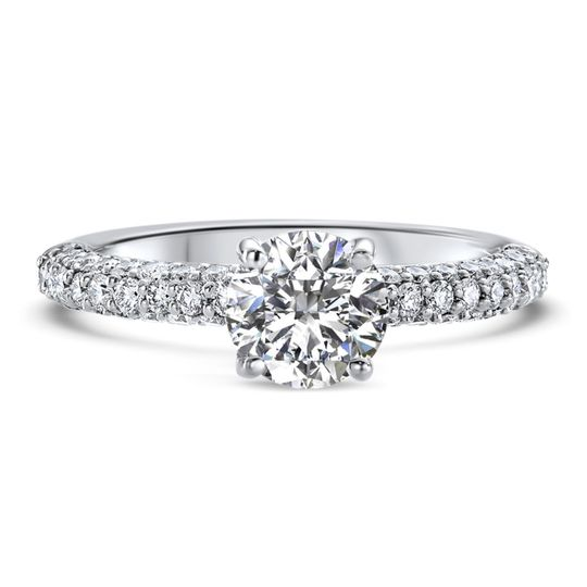 Ritani	19788		Three Row Pave Diamond Engagement Ring in Platinum (0.73 CTW) for a Round Center...
