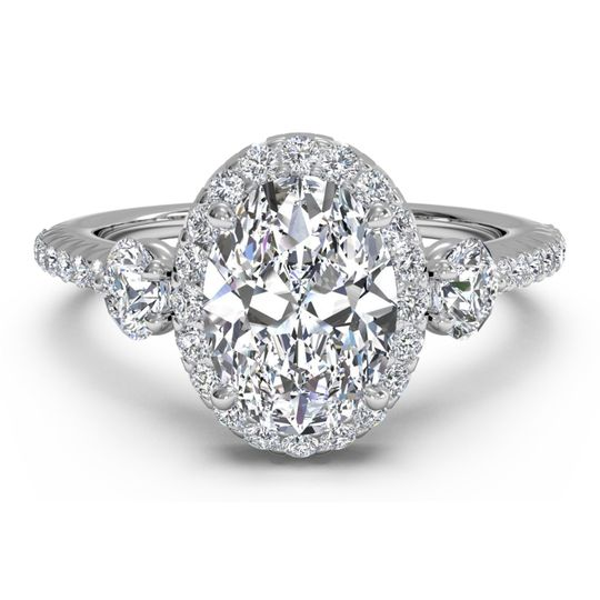 Ritani	15033		Three-Stone Halo Diamond Band Engagement Ring in 14kt White Gold (0.47 CTW)