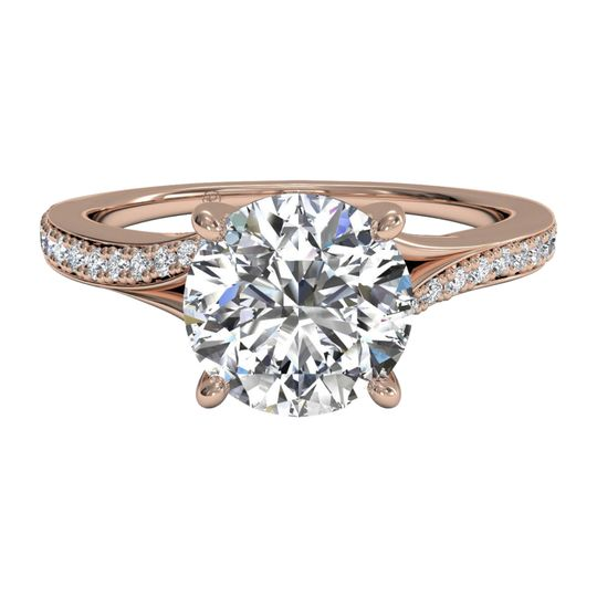 Ritani	12715		Modern Bypass Micropave Diamond Band Engagement Ring in 18kt Rose Gold (0.19 CTW)
