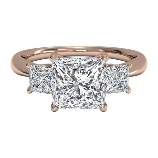 Ritani	12574		Three-Stone Diamond Engagement Ring with Princess-Cut Side-Diamonds in 18kt Rose...