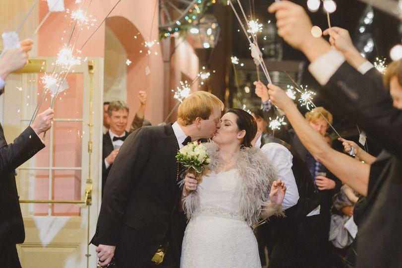 Sparkler entrance with a kiss