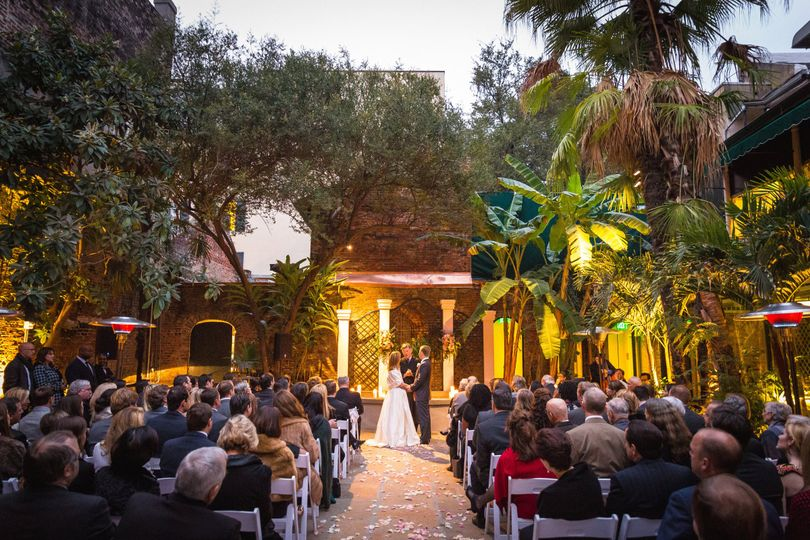 Courtyard wedding ceremony