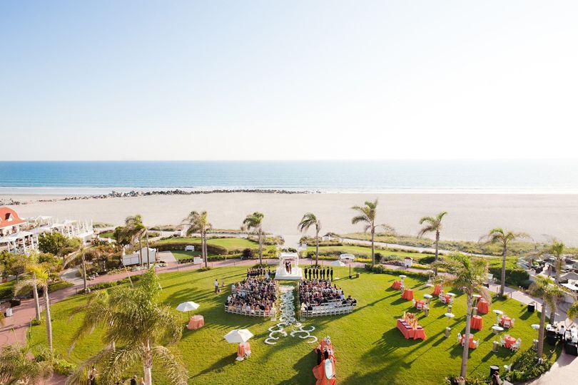 Wedding ceremony on the Windsor Lawn at Hotel del Coronado.