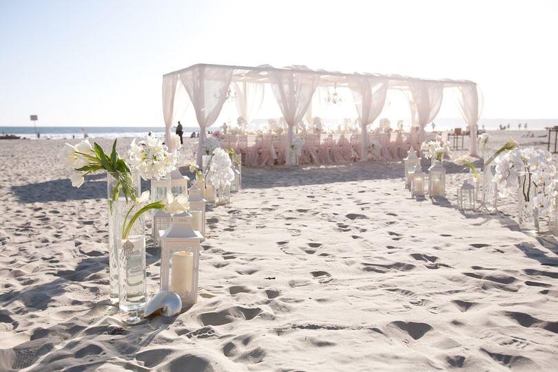 Beach reception at Hotel del Coronado