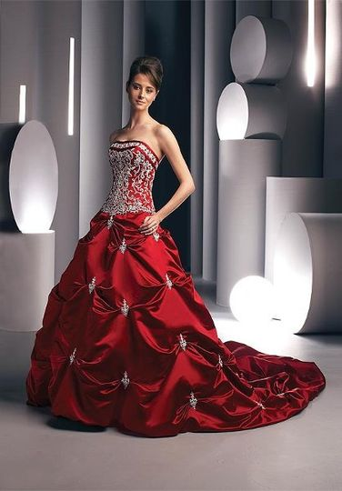 Davinic Burgundy Red Bridal Ball Gown for Rent