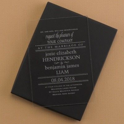 Acrylic invitation with playful fonts.
