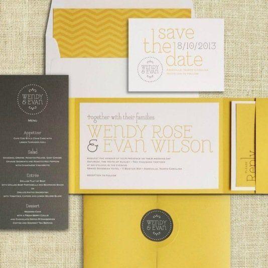 Tmx 1347499777890 Wedding2012yellowgraychevron Denver, Colorado wedding invitation