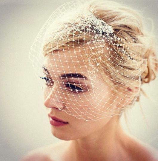 "The ""Ivis"" birdcage veil adorned with Swarovski crystals"