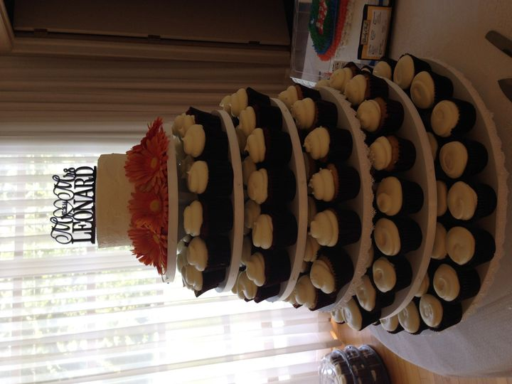 Cupcakes make a beautiful display for convenient serving at your reception.