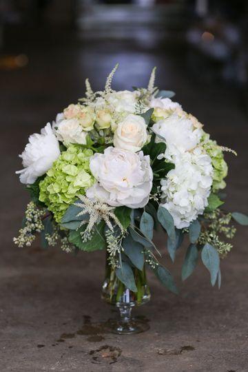 White rose and hydrangeas