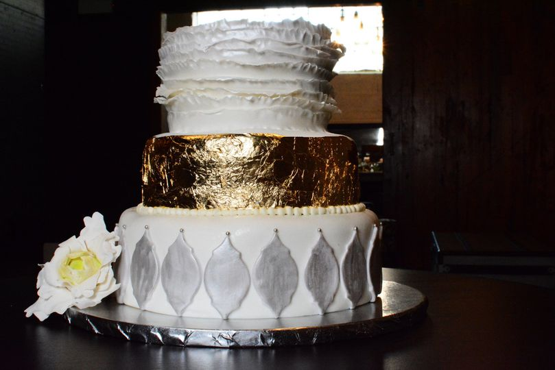 Fondant Cake  with Metallic Accents and Sugar Flowers